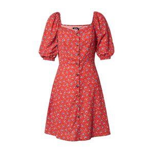 Boohoo Letní šaty 'Floral Square Neck Mini Dress'  červená