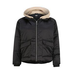 Urban Classics Zimní bunda 'Sherpa Hooded'  hnědá / černá