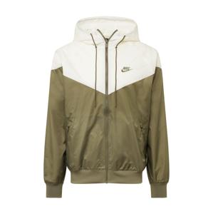 Nike Sportswear Přechodná bunda  bílá / olivová