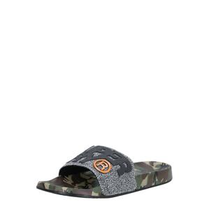 Superdry Pantofle  černá / oranžová / khaki / tmavě šedá