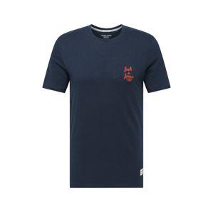 JACK & JONES Tričko  námořnická modř / oranžová