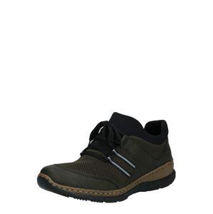 RIEKER Sportovní šněrovací boty  černá / tmavě zelená