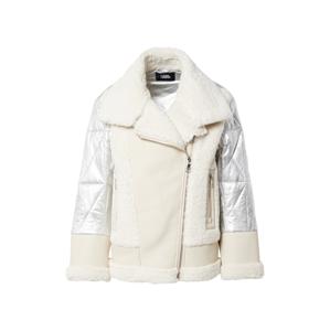 Karl Lagerfeld Zimní bunda  stříbrně šedá / krémová
