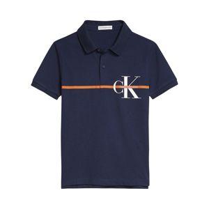 Calvin Klein Jeans Tričko  oranžová / bílá / tmavě modrá