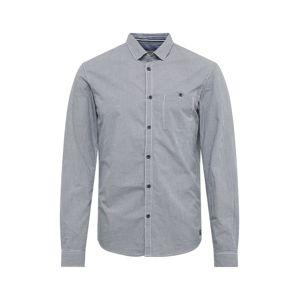 TOM TAILOR DENIM Společenská košile 'mini vichy shirt'  bílá / námořnická modř