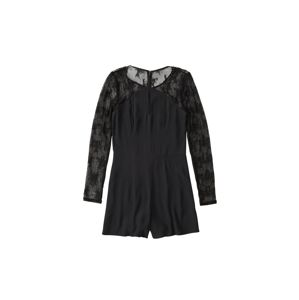 Abercrombie & Fitch Overal 'DTC SHEER LACE SLEEVE ROMPER'  černá