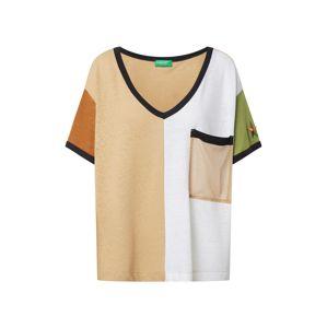 UNITED COLORS OF BENETTON Tričko  černá / zelená / hnědý melír / oranžová