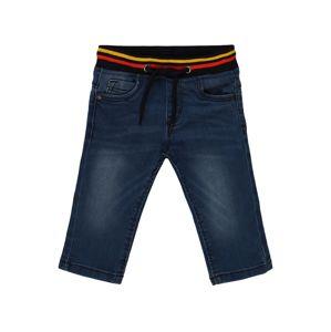 BLUE SEVEN Džíny  modrá džínovina / černá / zlatě žlutá / světle červená