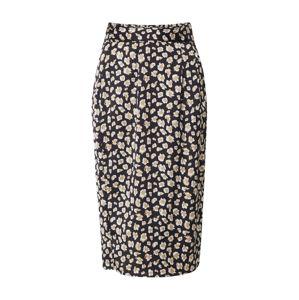 Boohoo Sukně 'Smudge Print Belted Midi Skirt'  béžová / černá