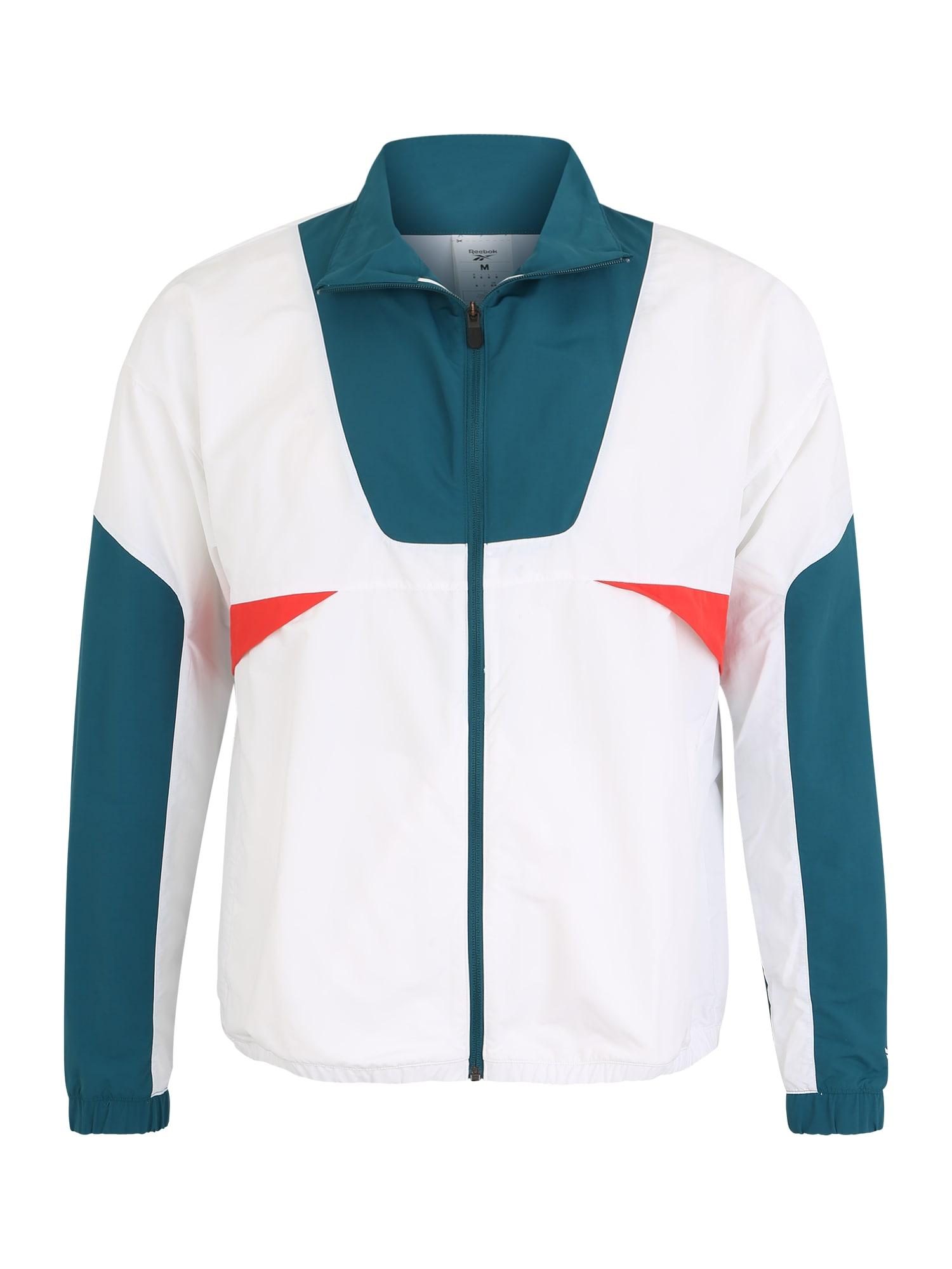 REEBOK Sportovní bunda 'MYT WOVEN JACKET'  bílá / pastelová modrá / pastelově červená
