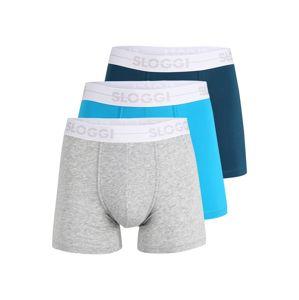 SLOGGI Boxerky  šedý melír / svítivě modrá / námořnická modř