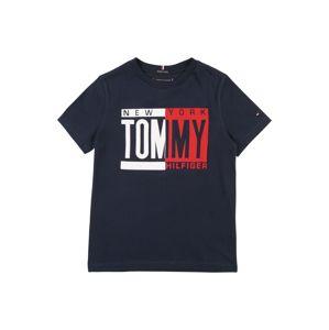 TOMMY HILFIGER Tričko  tmavě modrá / červená / bílá