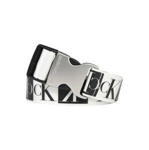 Calvin Klein Jeans Opasek 'J PLAQUE CANVAS BELT 3CM'  černá / bílá