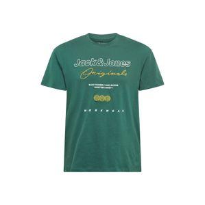 JACK & JONES Tričko 'EXPANDED'  zelená / bílá / žlutá