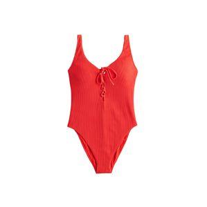 HOLLISTER Plavky 'RIB LACE UP ONE PIECE'  červená