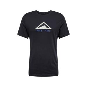 NIKE Funkční tričko 'Trail'  černá / bílá / modrá