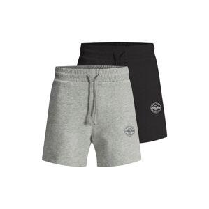 JACK & JONES Kalhoty 'More'  černá / šedý melír