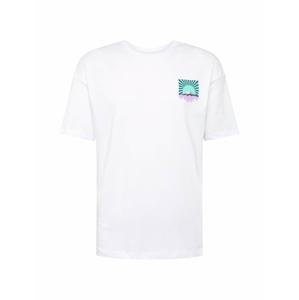 JACK & JONES Tričko  bílá / nefritová / fialová