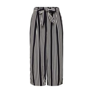 TOM TAILOR Kalhoty se sklady v pase  černá / bílá