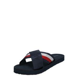 TOMMY HILFIGER Pantofle  světle červená / tmavě modrá / bílá
