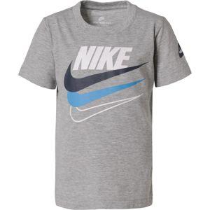 Nike Sportswear Tričko  šedý melír / bílá / námořnická modř / nebeská modř