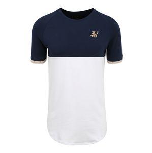 SikSilk Tričko  bílá / námořnická modř