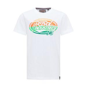 Petrol Industries Tričko  bílá / jasně oranžová / oranžová / světle zelená / zelená