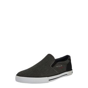 TOM TAILOR Slip on boty  černý melír / režná