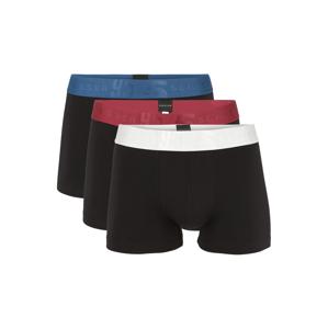 SCHIESSER Boxerky  černá / pastelově červená / kouřově modrá / bílá