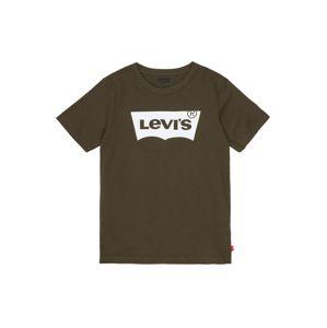 LEVI'S Tričko 'Batwing Tee'  olivová / tmavě hnědá / bílá
