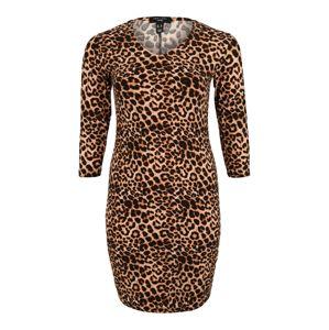 New Look Curves Šaty 'X Anaimal ST Bodycon'  hnědá / žlutá