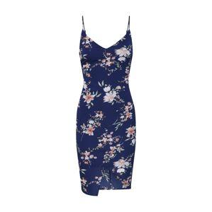 Boohoo Letní šaty 'FLORAL WRAP FRONT SLIP DRESS'  modrá