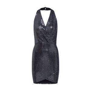 Boohoo Koktejlové šaty 'Glitter'  černá / stříbrná