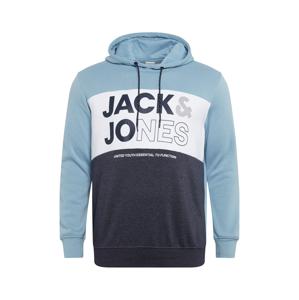 Jack & Jones Plus Mikina 'ARID'  námořnická modř / kouřově modrá / bílá