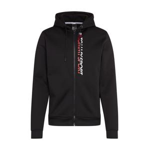 Tommy Sport Sportovní mikina s kapucí  černá / bílá / červená