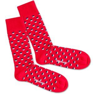 DillySocks Ponožky 'Red Boccia Field'  modrá / červená / bílá