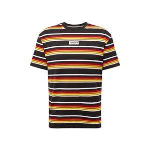 Tommy Jeans Tričko 'Yarn Dye Stripe'  červená / černá / žlutá