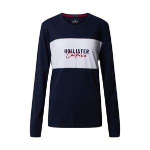 HOLLISTER Tričko  bílá / námořnická modř
