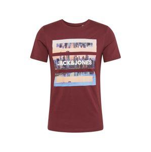 JACK & JONES Tričko 'BARISTA'  vínově červená / bílá / kouřově modrá / růžová / tělová / fialová