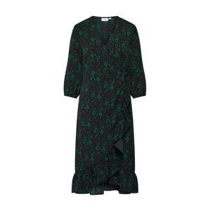 SAINT TROPEZ Šaty 'WOVEN DRESS 3/4 SLEEVE'  tmavě zelená / černá