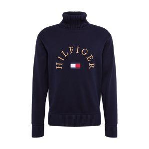 TOMMY HILFIGER Svetr 'HILFIGER FLAG ROLL NECK'  bílá / červená / tmavě modrá