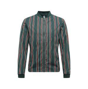 JACK & JONES Přechodná bunda  tmavě zelená / vínově červená / bílá