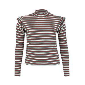 Urban Classics Curvy Tričko  zelená / červená / bílá