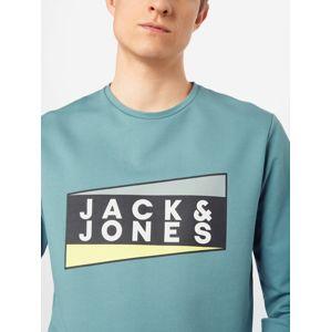 JACK & JONES Mikina 'JCOANTON SWEAT CREW NECK'  žlutá / zelená / černá