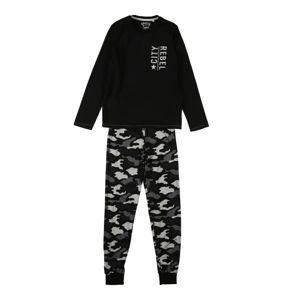 SANETTA Pyžamo 'Pyjama long'  šedá / tmavě šedá / černá