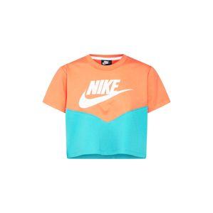 Nike Sportswear Tričko  tyrkysová / oranžová / bílá