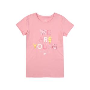 4F Funkční tričko  starorůžová / žlutá / bílá / brusinková
