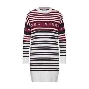 Noisy May Úpletové šaty 'FRANCES KNIT DRESS'  burgundská červeň / bílá
