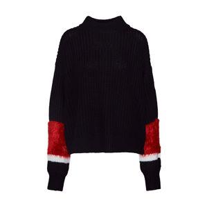 Tommy Jeans Svetr ' SLEEVE DETAIL SWEATER'  červená / černá / bílá