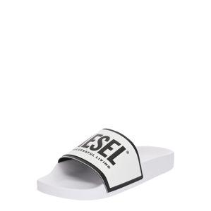 DIESEL Pantofle  černá / bílá